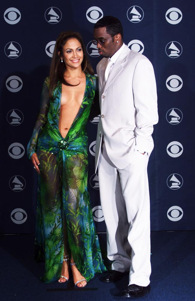 Lopez attended the 2000 Grammy Awards with her then-boyfriend Sean Coombs. Picture: Scott Gries/Getty