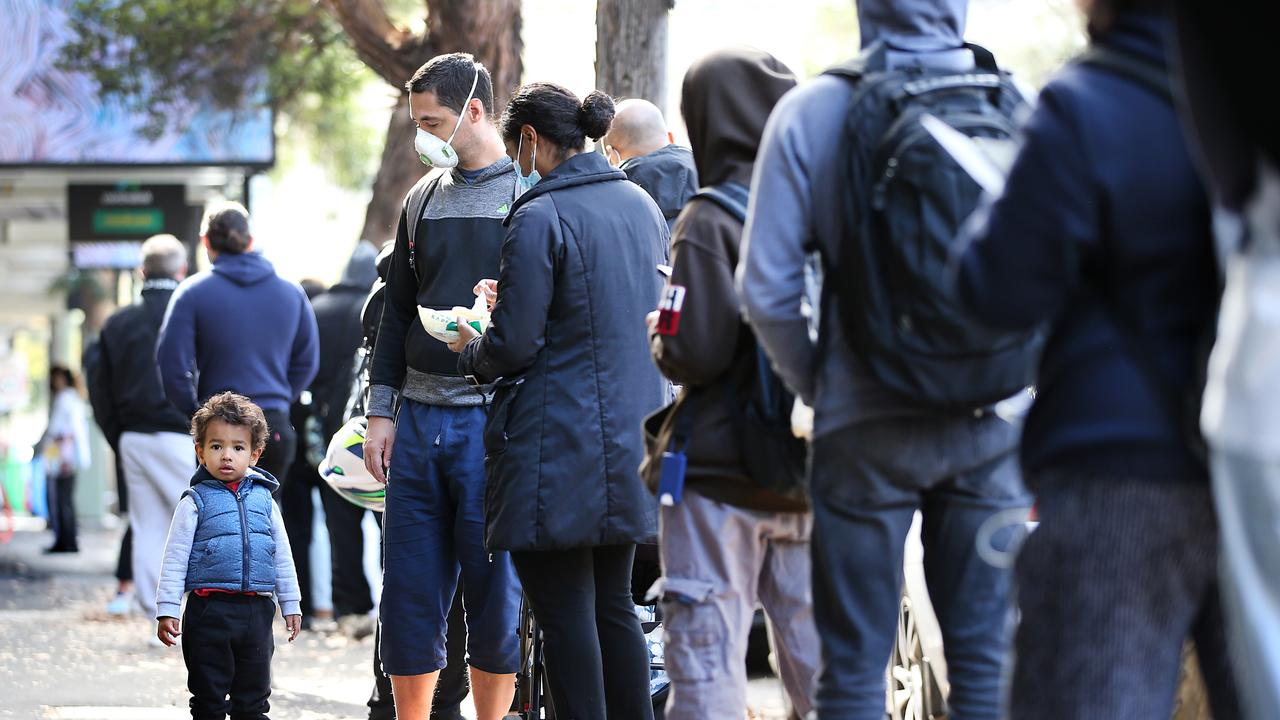 Long lines of financially struggling workers outside the Darlinghurst Centrelink back in July. Picture: Jane Dempster/The Australian.
