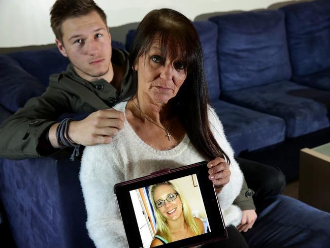 Tara Costigan's mother Trish Fuller, with her son Korie.