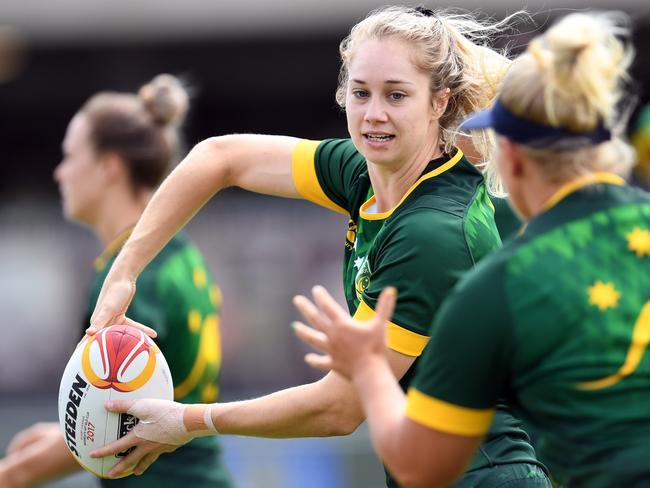 Australian Jillaroos player Kezie Apps training at the World Cup.