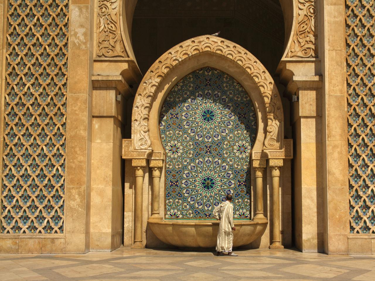 One of the several ablution fountains attached to the outer wall of the Hassan II Mosque.