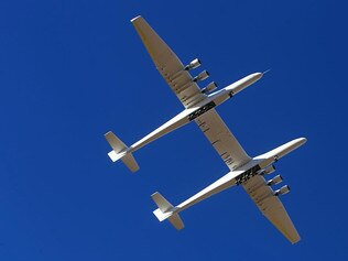 KIDS NEWS: The Stratolaunch Roc aircraft, a six-engine jet with the world's longest wingspan, completed its second tsr flight, Thursday, April 29, 2021 in Mojave, California. Picture: AP Photo/Matt Hartman.