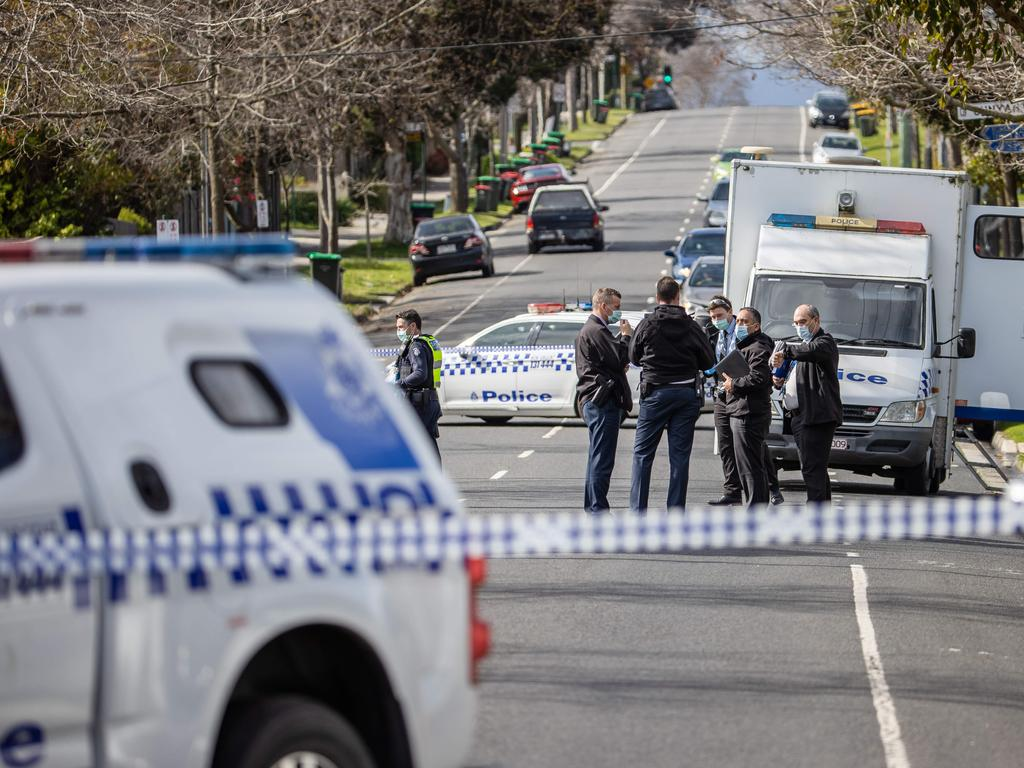 Police have blocked the corner of Springfield and Goodwin Street as they investigate after two young children went missing from a Blackburn home. Picture: Jason Edwards