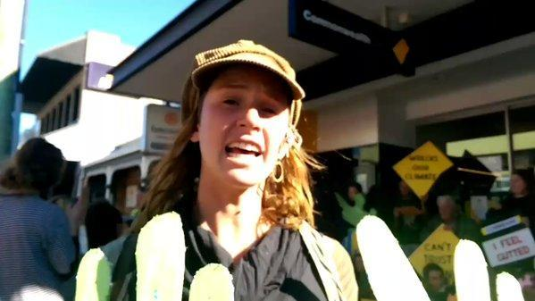 Commonwealth Bank Branches Close Across Newcastle Amid Protest. Credit - Twitter/Zianna Fuad via Storyful