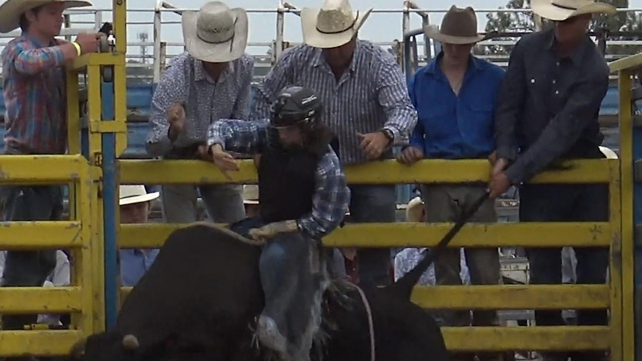 A bull's tail is pulled as it leaves the gate at Saturday's Bull n Bronc. Photo taken from a video supplied by Animal Liberation Queensland.
