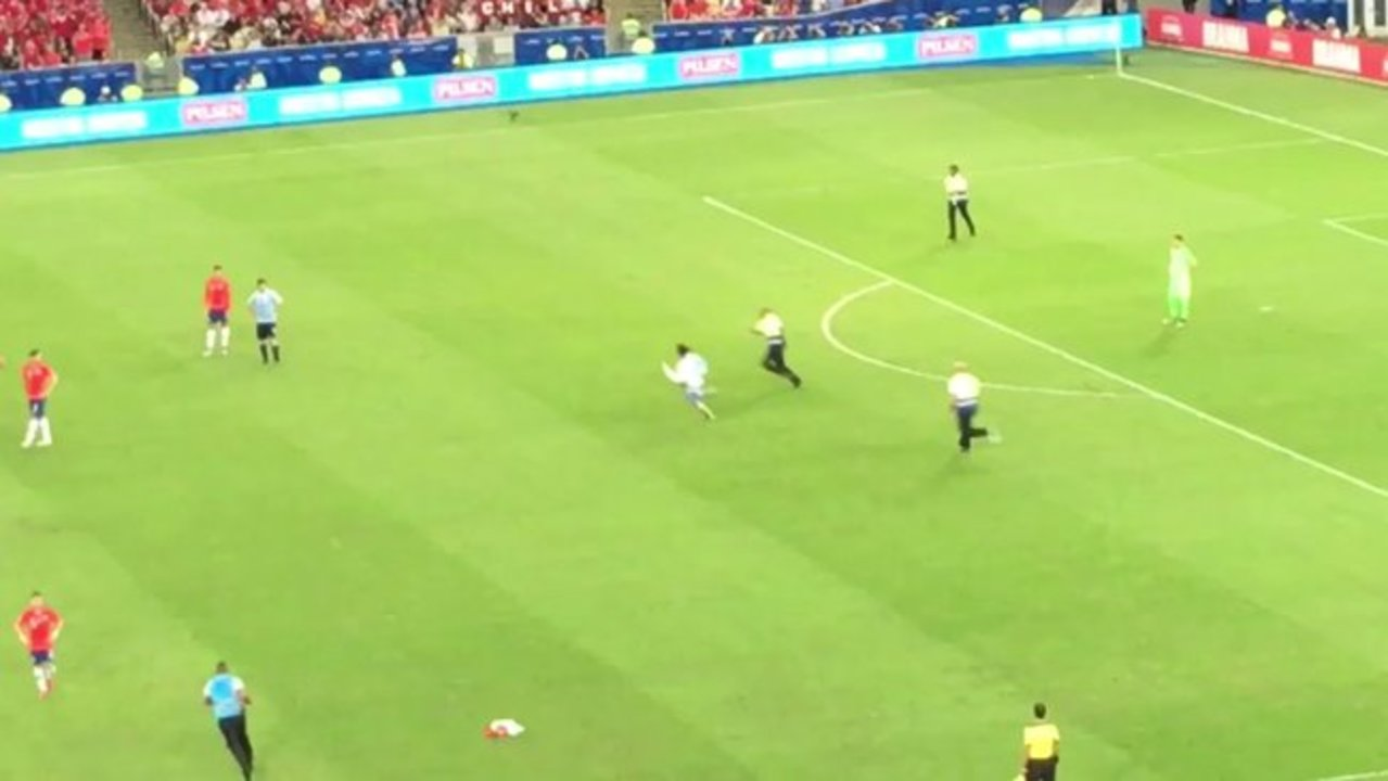 Chilean Defender Trips Pitch Invader at Copa America