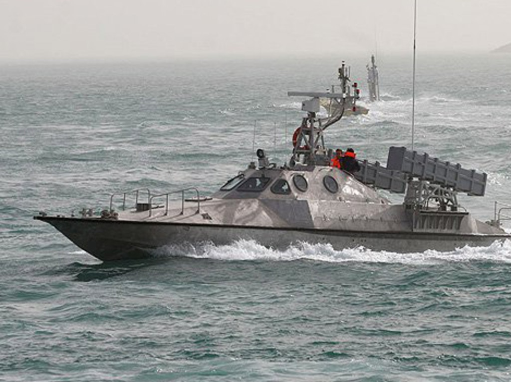 This image, supplied by the Iranian military, puports to show a speedboat equipped with anti-ship missile cannisters.