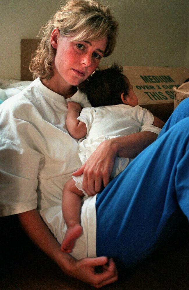 Letourneau holding her baby daughter.