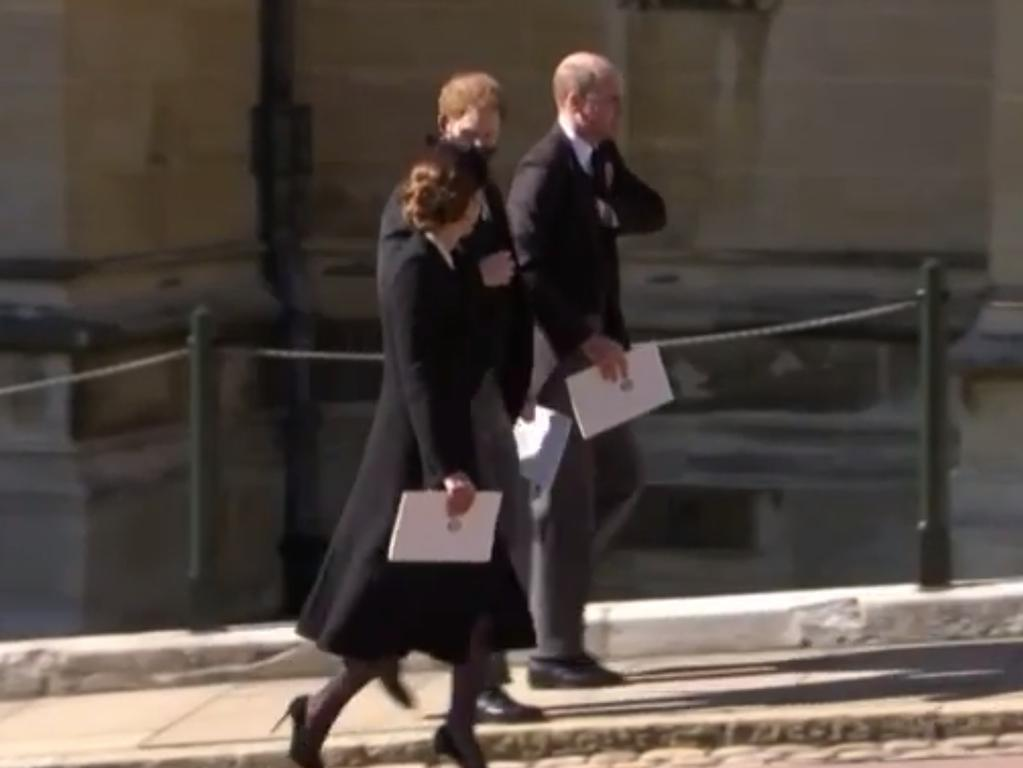 Prince Harry and Prince William walking together after the funeral service for Prince Philip. Picture: 7NEWS