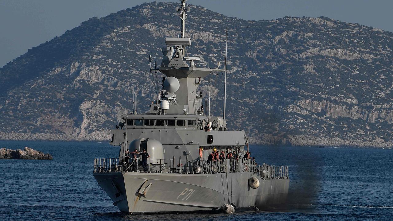 A Greek navy patrol boat off the island of Kastellorizo. Picture: Louisa GOULIAMAKI / AFP.