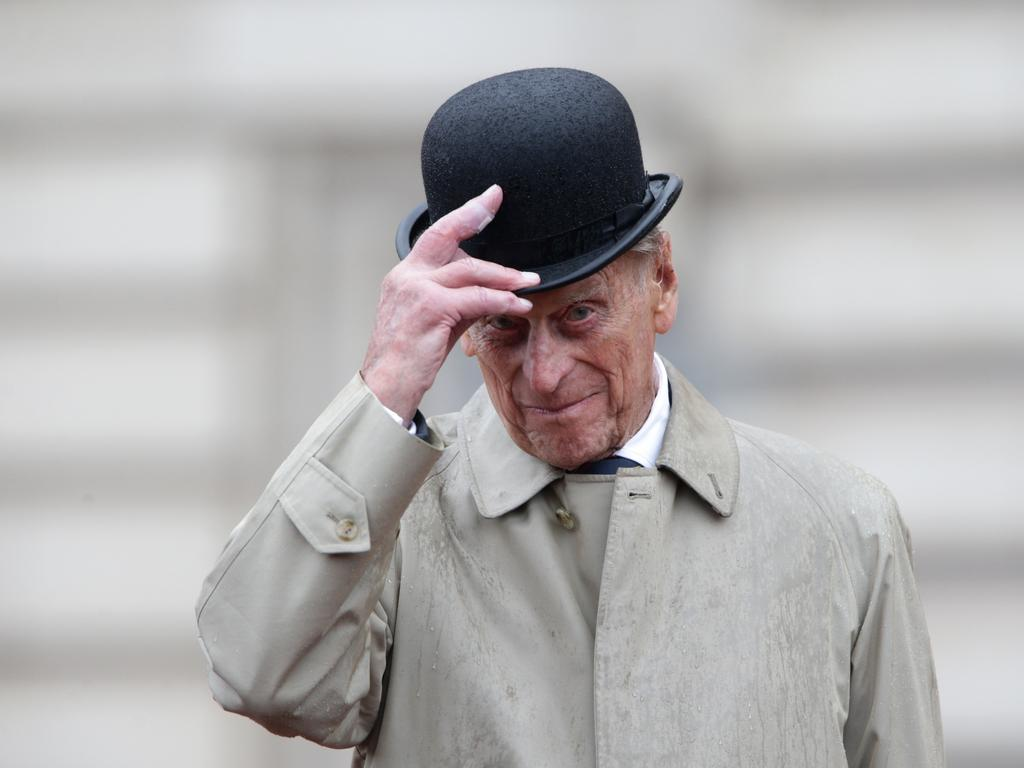 Prince Philip raises his hat in his role as Captain General, Royal Marines, makes his final individual public engagement in August 2017. Picture: Yui Mok/Getty Images