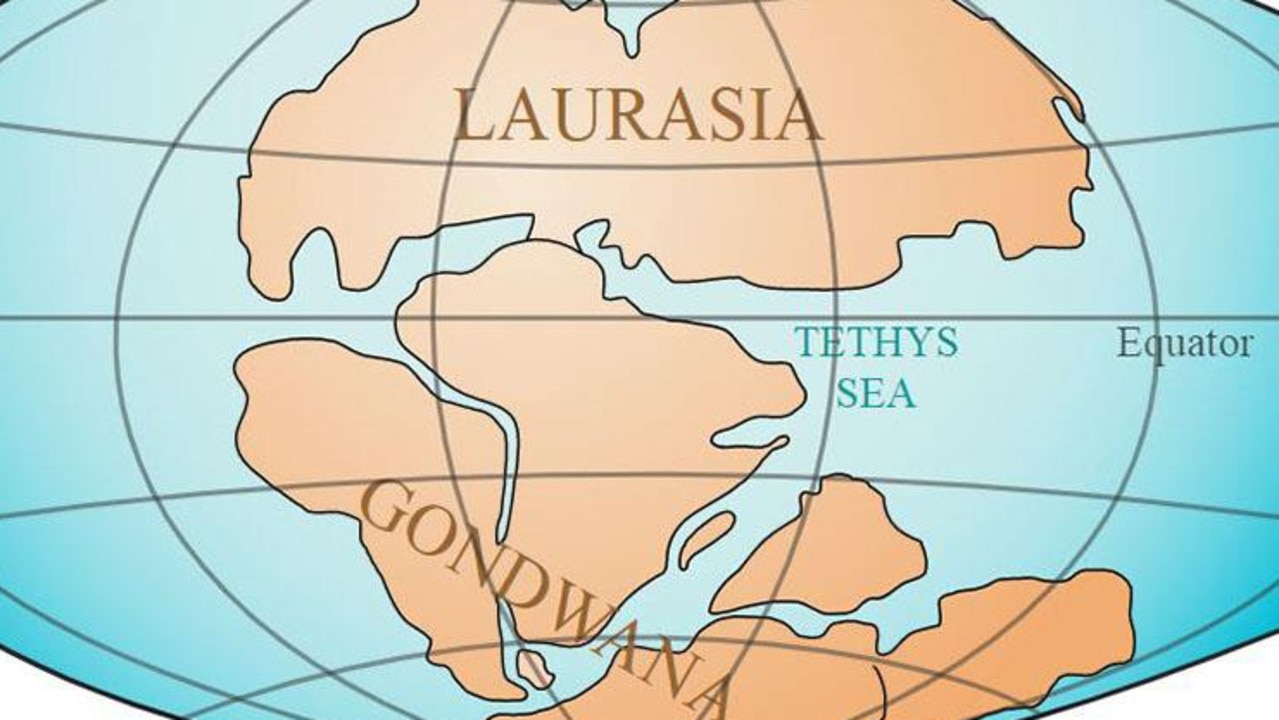 Gondwana and Laurasia were the two big land masses on Earth, shown here during the Jurassic period, when stegosaurs roamed the land. Picture: United States Geological Survey