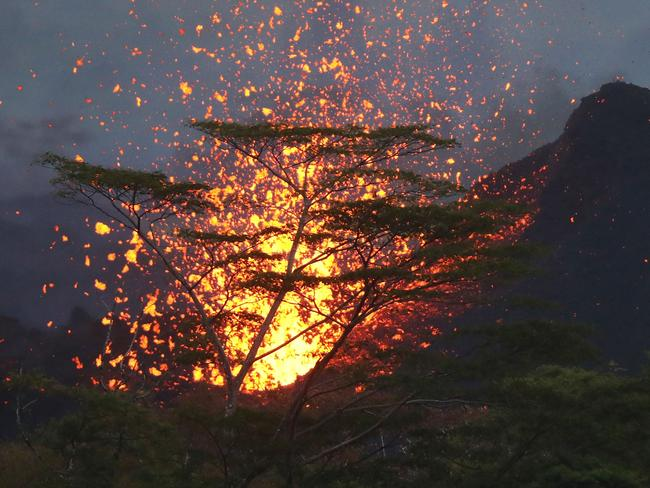 A lava fountain from a Kilauea volcano fissure erupts, while forming a new cone, on Hawaii's Big Island. Picture: Getty