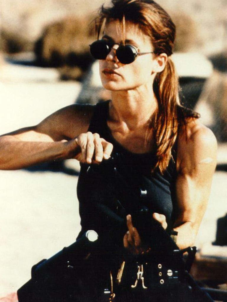 Linda Hamilton in the 1991 film Terminator 2: Judgment Day. Picture: Supplied