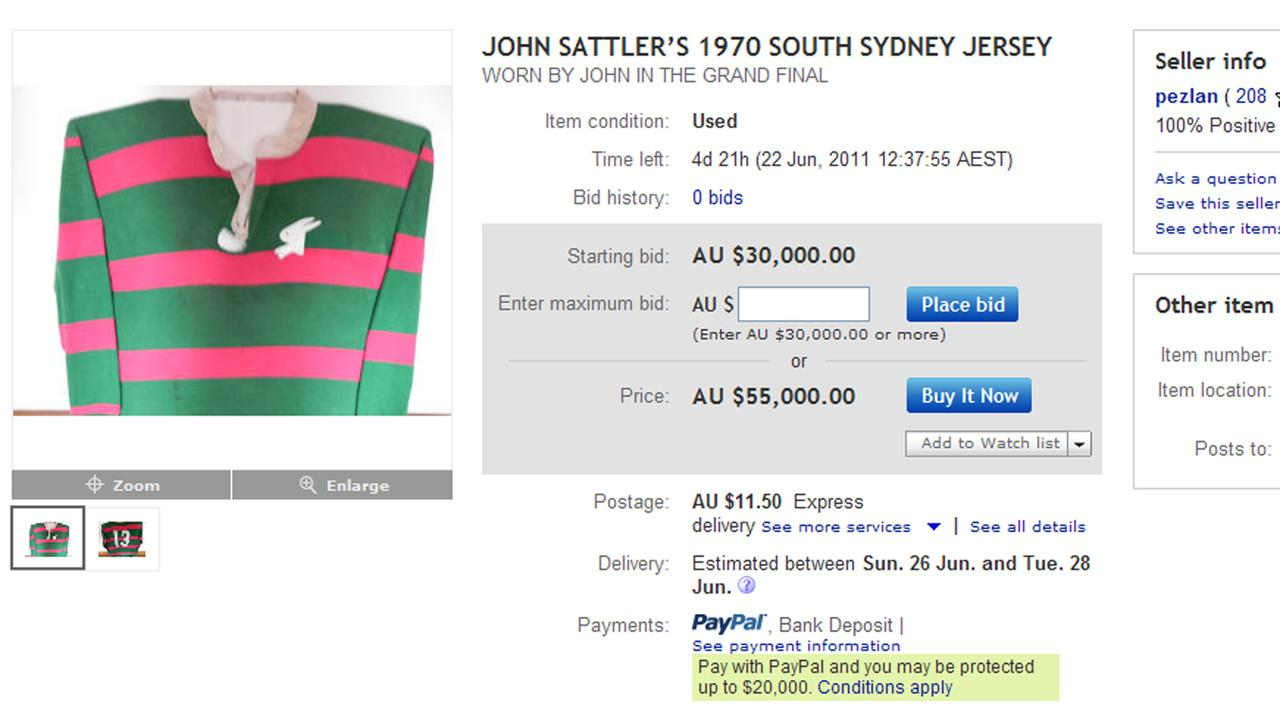 A photo of John Sattler's spare 1970 South Sydney Rabbitohs jersey which was being sold on eBay.