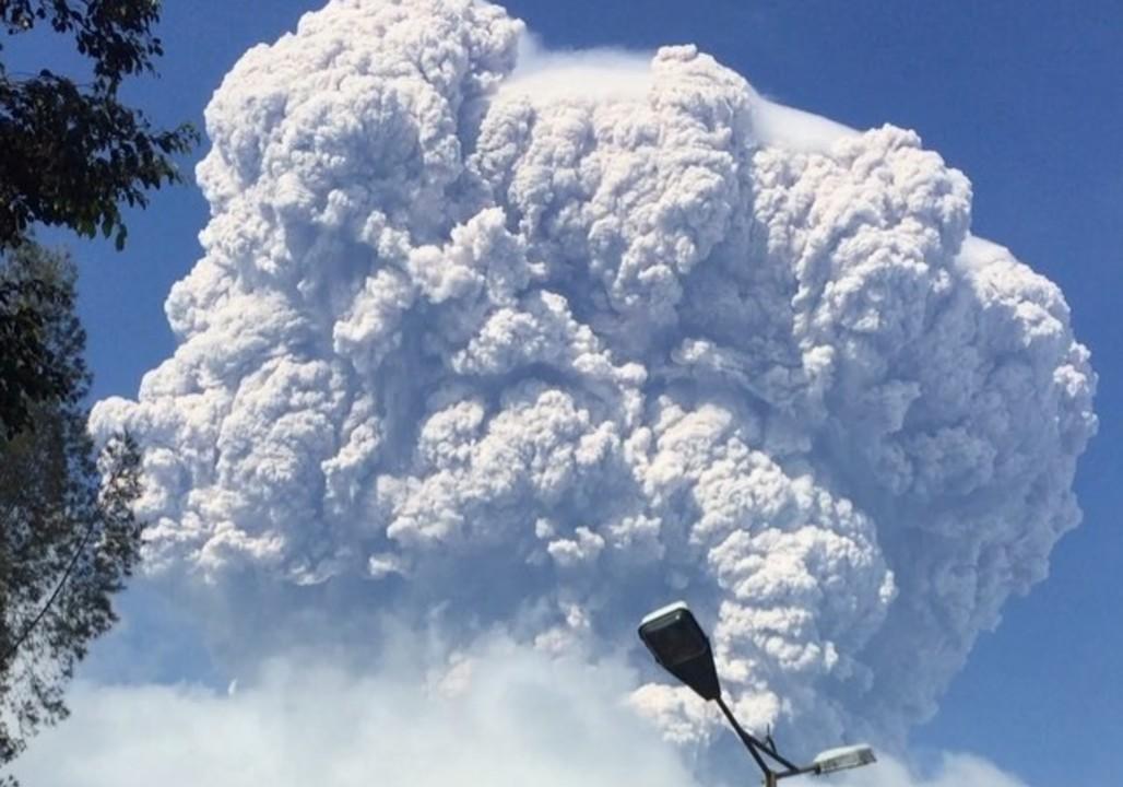 Mushroom Cloud Towers Over Erupting Sinabung Volcano