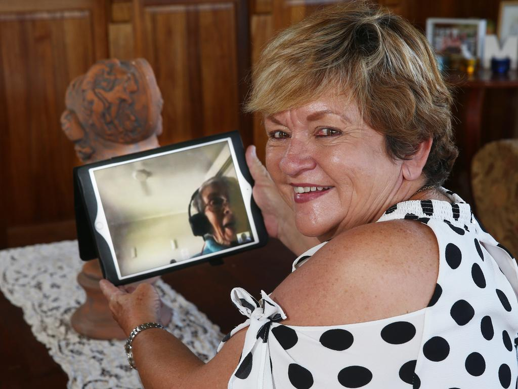 Government imposed restrictions over the coronavirus has meant that nursing homes and retirement villages have been in lockdown, with even immediate family unable to visit their relatives. Real estate agent Cathy Ratcliffe video calls her elderly mother regularly. Picture: Brendan Radke