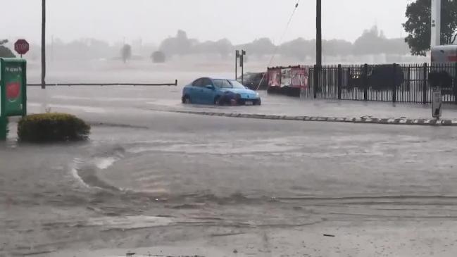 Flash flooding is occurring across Bundaberg. Courtesy: 9News Wide Bay