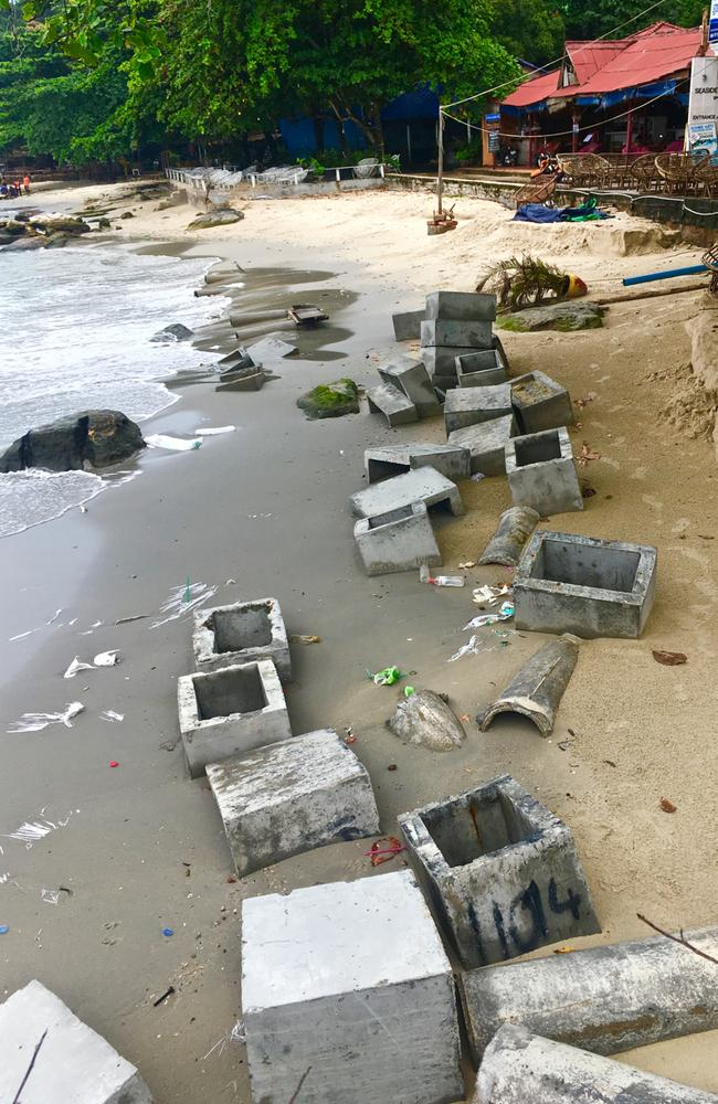 Serendipity beach used to be full of backpacker bars. Now it's a rubbish dump for construction waste.