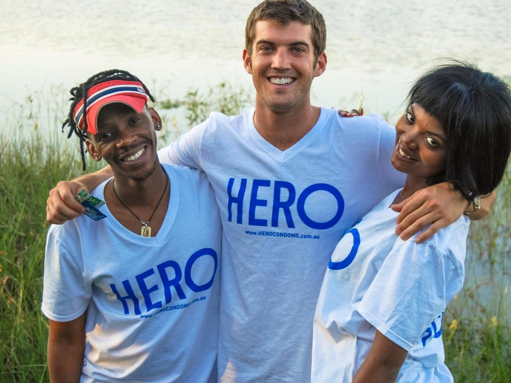 Dustin Leonard (centre) is the CEO of HERO Condoms.