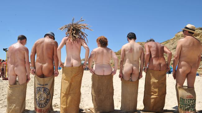 They get into the naked spirit in SA too. These nude games were held at Maslin Beach, South Australia. Picture: Mark Brake