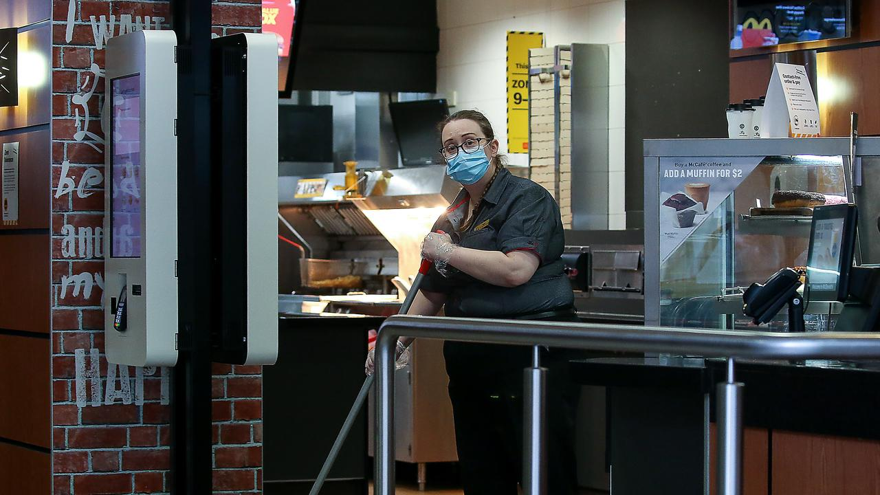 A McDonald's worker in Melbourne's Collins St store. Picture: Ian Currie