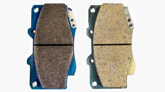 It's a little easier for experts to spot which of these Toyota brake pads is fake. The genuine is on the left and the counterfeit is on the right. What about motorists who source parts online themselves ... would they pick the difference without an original to compare? Picture: Supplied.