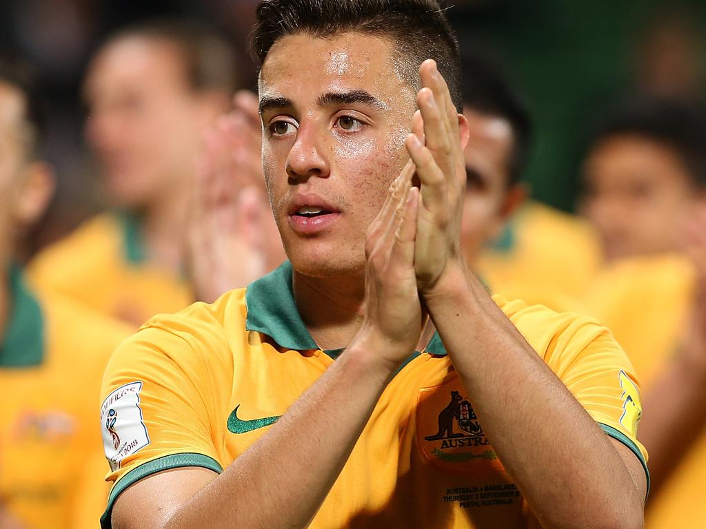 PERTH, AUSTRALIA - SEPTEMBER 03: Chris Ikonomidis of Australia acknowledges the supporters after winning the 2018 FIFA World Cup Qualification match between the Australian Socceroos and Bangladesh at nib Stadium on September 3, 2015 in Perth, Australia. (Photo by Paul Kane/Getty Images)