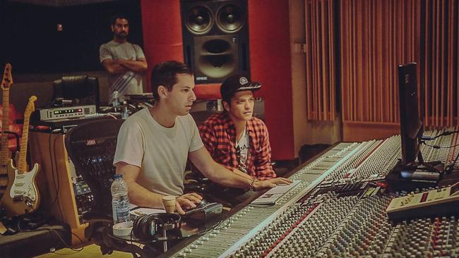 Making magic ... Ronson and Bruno Mars recording Uptown Funk. Picture: Supplied