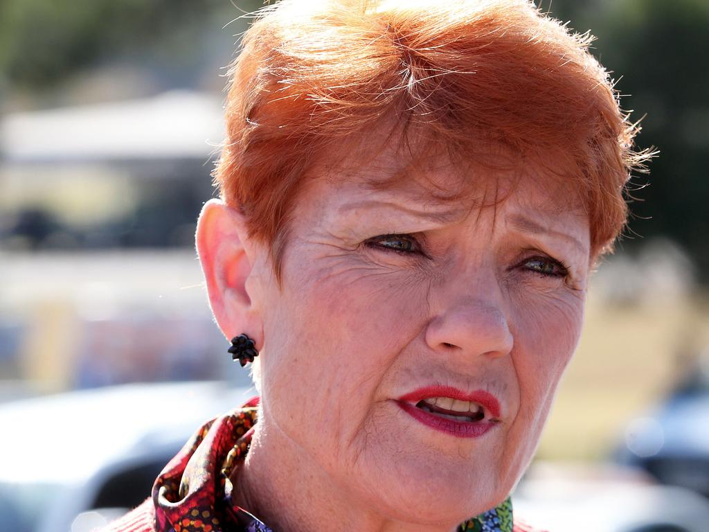 NEWCASTLE, AUSTRALIA - NewsWire Photos - May 22, 2021. One Nation boss Pauline Hanson at the Upper Hunter by-election at Muswellbrook Sports Centre.  Picture: NCA NewsWire / Peter Lorimer.