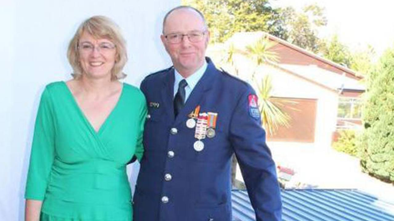 Alison and Bill Metherell before he received his gold star for 25 years' fire brigade service in 2017.