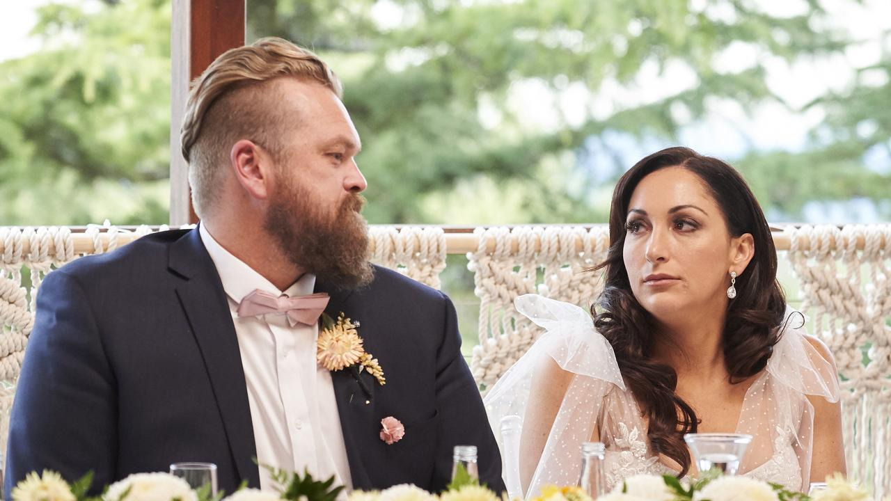 Luke Eglin and Poppy Jennings on their wedding day. Picture: Channel 9