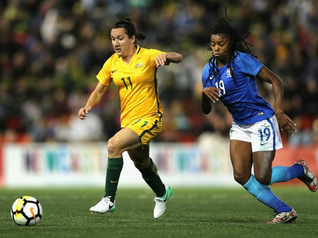 Lisa de Vanna leading from the front for the Matildas against Brazil. Picture: Getty Images