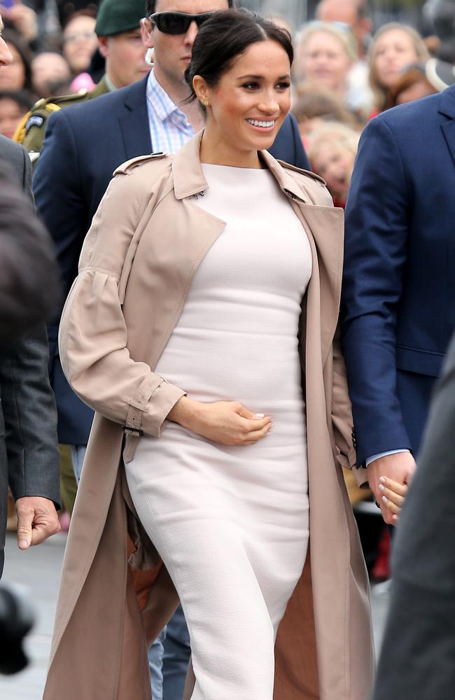 The duchess has been spotted on numerous occasions tenderly cradling her baby bump.