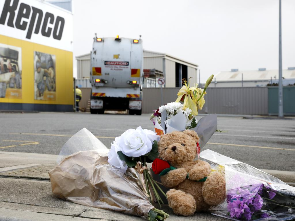 Flowers and a teddy bear was left at the scene of the incident. Picture: Robert Lang