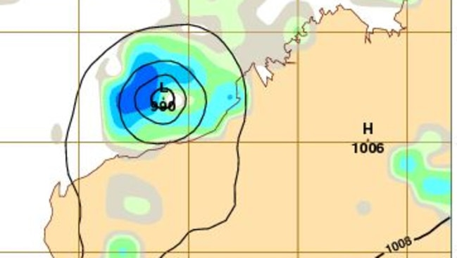 Cyclone Stan before it made landfall around Port Hedland on Sunday morning. Picture: BoM.