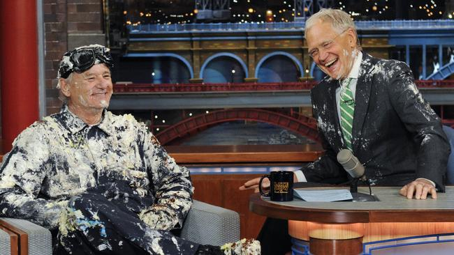 Bill Murray jumped out of giant cake when he made his final appearance on the Late Show with David Letterman.