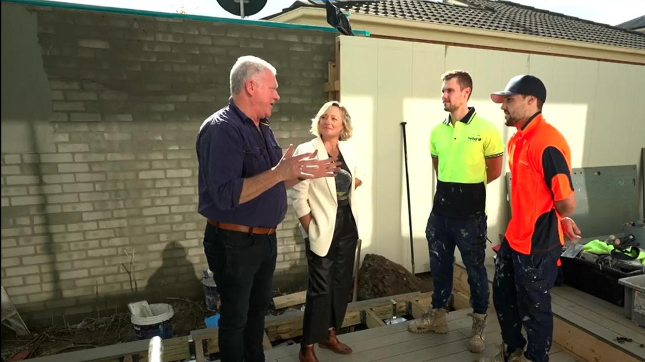 Scott Cam tells Luke and Josh to stop going to other contestants' houses to count tradies. Picture: Channel 9