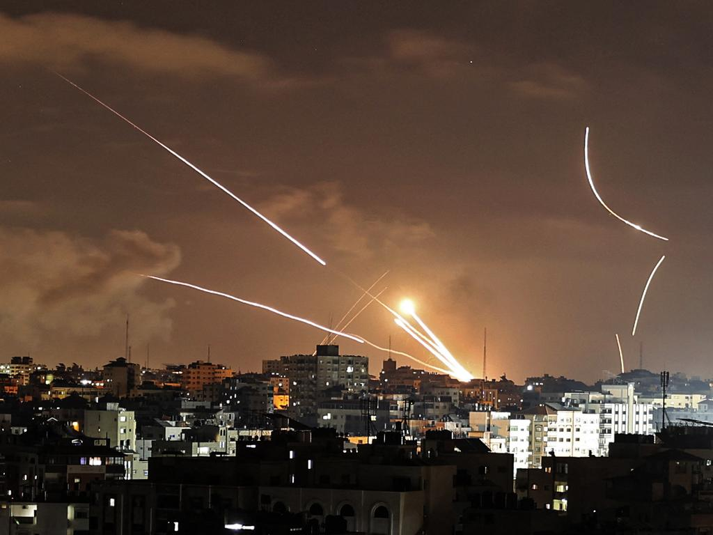 Rockets are launched from Gaza City, controlled by the Palestinian Hamas movement, towards Israel this week. Picture: Mahmud Hams/AFP