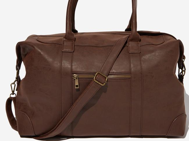 NUEVO OVERNIGHTER BAG, $59.99 FROM TYPO This classis overnighter comes in brown and black and is everything you need and more for a quick little getaway. Fully lined, it has an easy to carry shoulder handle and will fit plenty of outfit changes as well as all your toiletries.