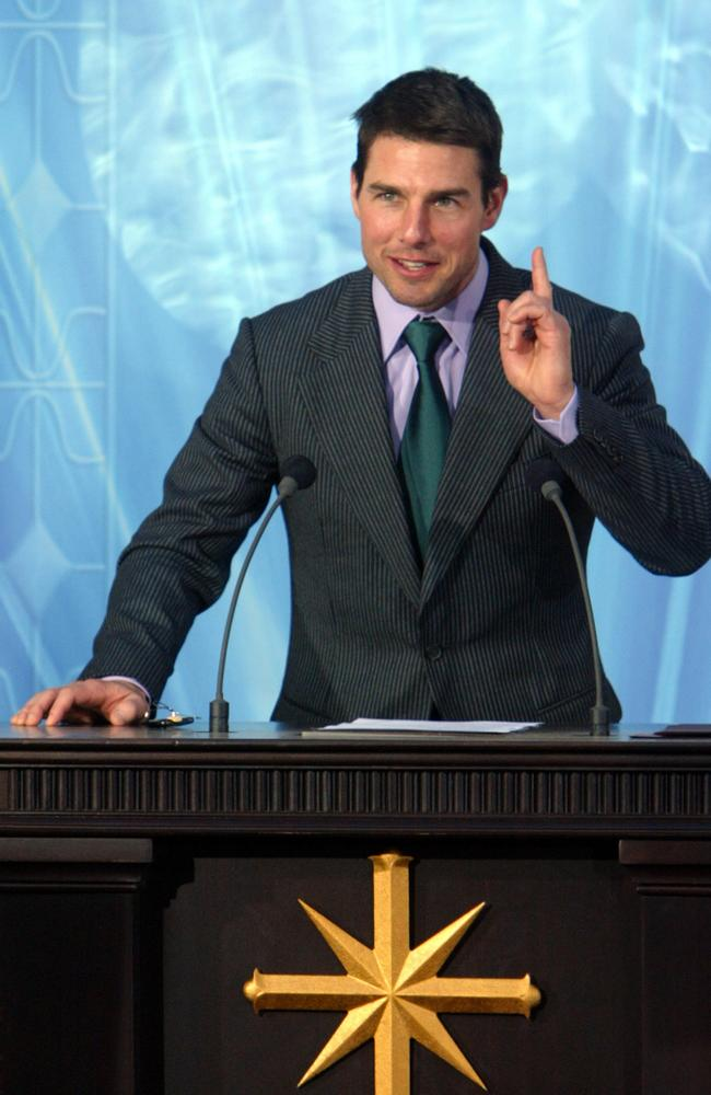 Actor Tom Cruise speaks during the inauguration of the Church of Scientology in Madrid 2004. Picture: Pierre-Philippe Marcou/AFP