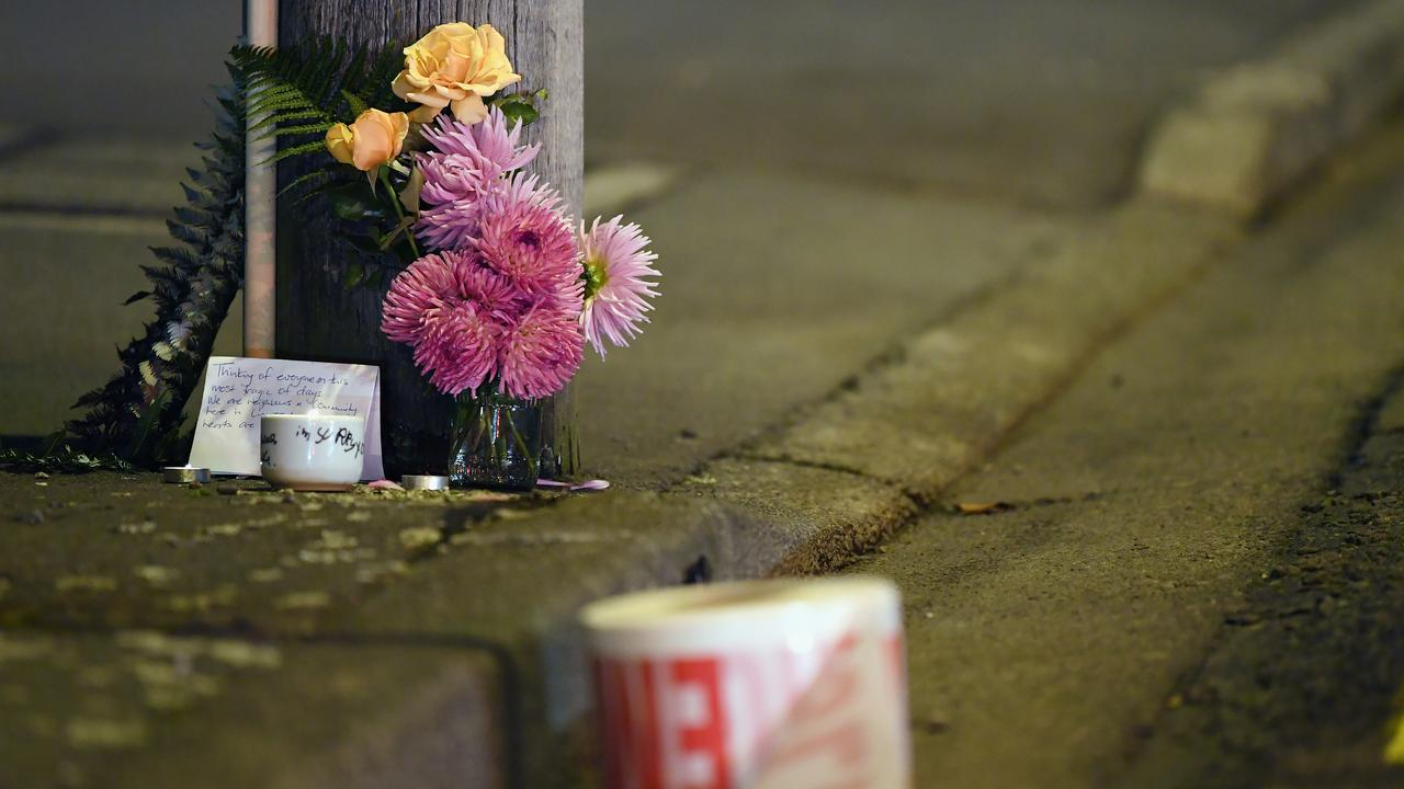 A floral tribute is seen on Linwood Avenue near the Linwood Masjid mosque. Picture: Getty Images