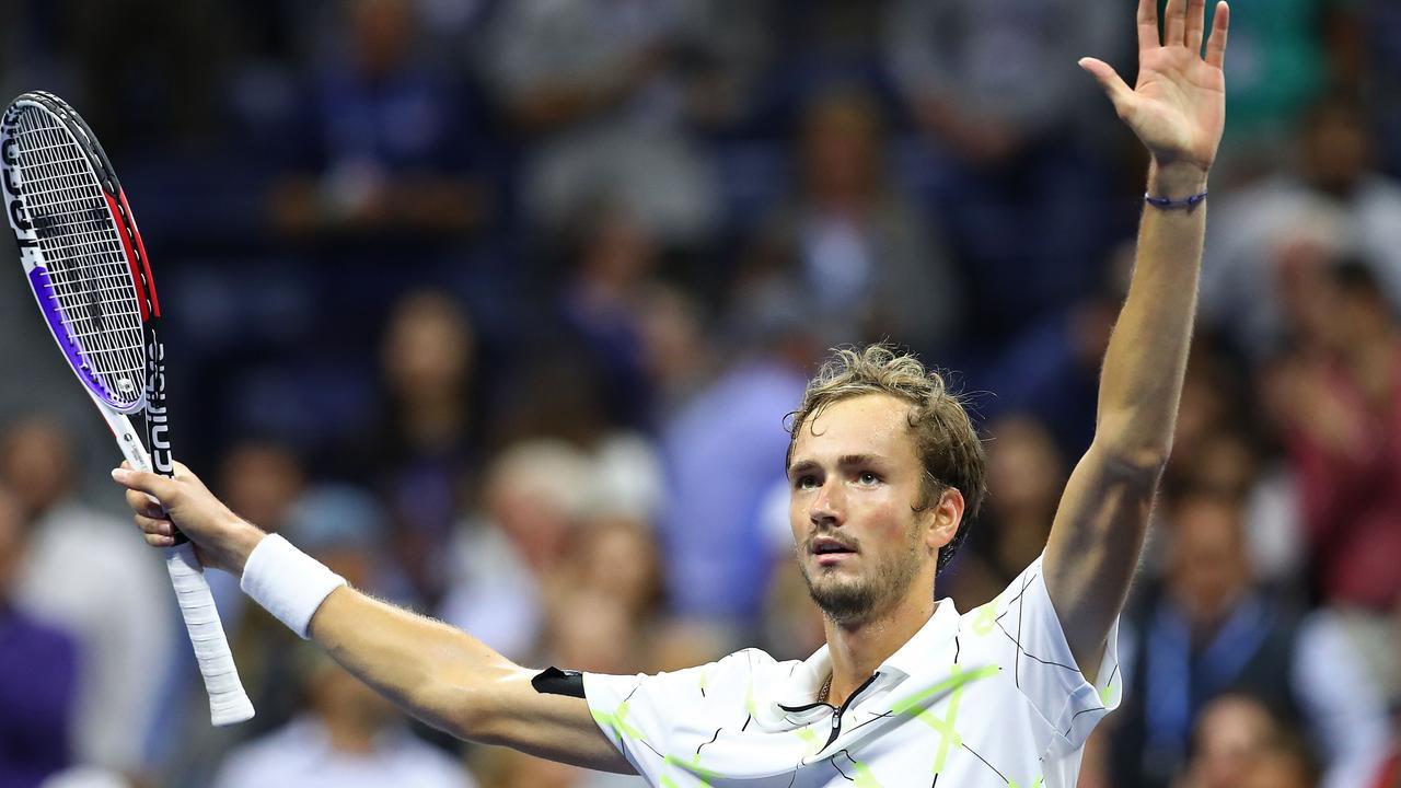Daniil Medvedev of Russia celebrates after winning his Men's Singles semi-final