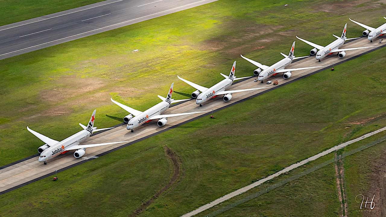 Grounded Jetstar planes wait out the coronavirus at Avalon Airport, Victoria. Picture: Facebook/Ingrid Henriksen Photography