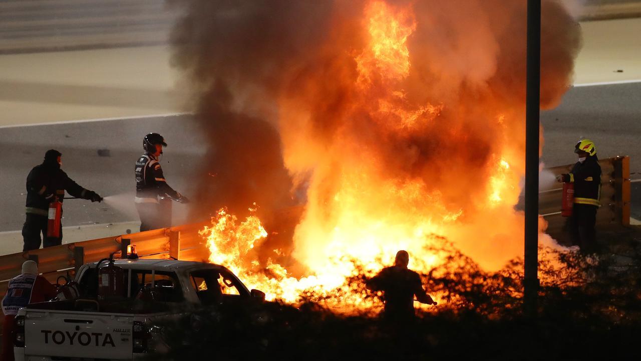 Romain Grosjean's car bust into flames after the crash.