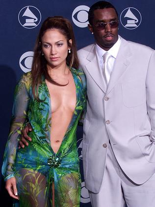"""Jennifer Lopez with boyfriend, music mogul, Sean """"Puffy"""" Combs at the Grammys in 2000. Picture: AFP"""