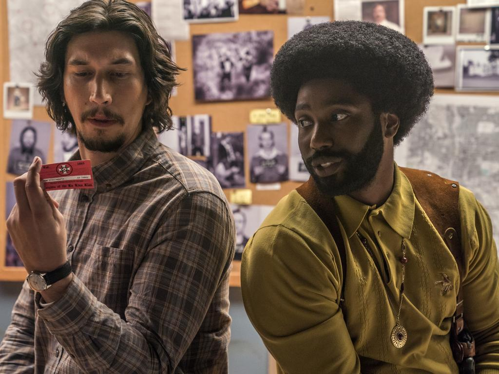 Both Adam Driver, left, and John David Washington were recognised for their work in BlacKkKlansman. Picture: AP