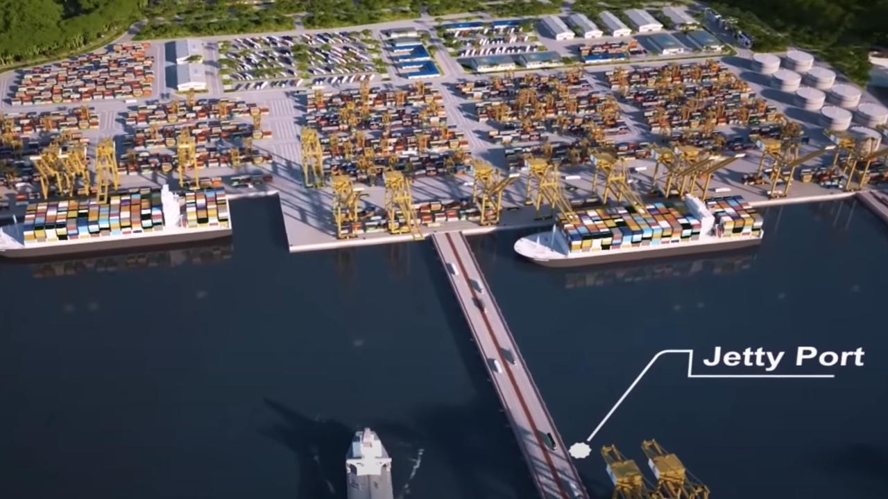 A proposed new seaport has been envisioned in a 3D flyover video for the proposed Kikori Special Economic Zone. Picture: Supplied