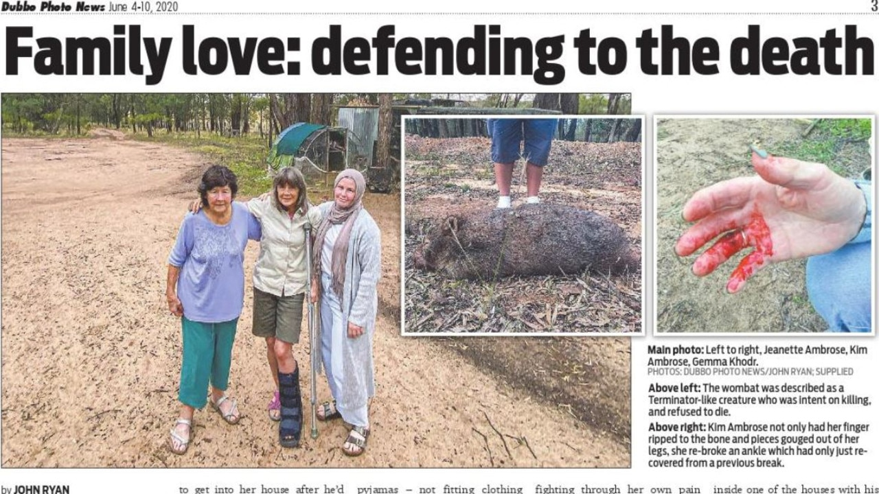 The story of the wombat's reign of terror appeared in Dubbo Photo News newspaper. Picture: Dubbo Photo News