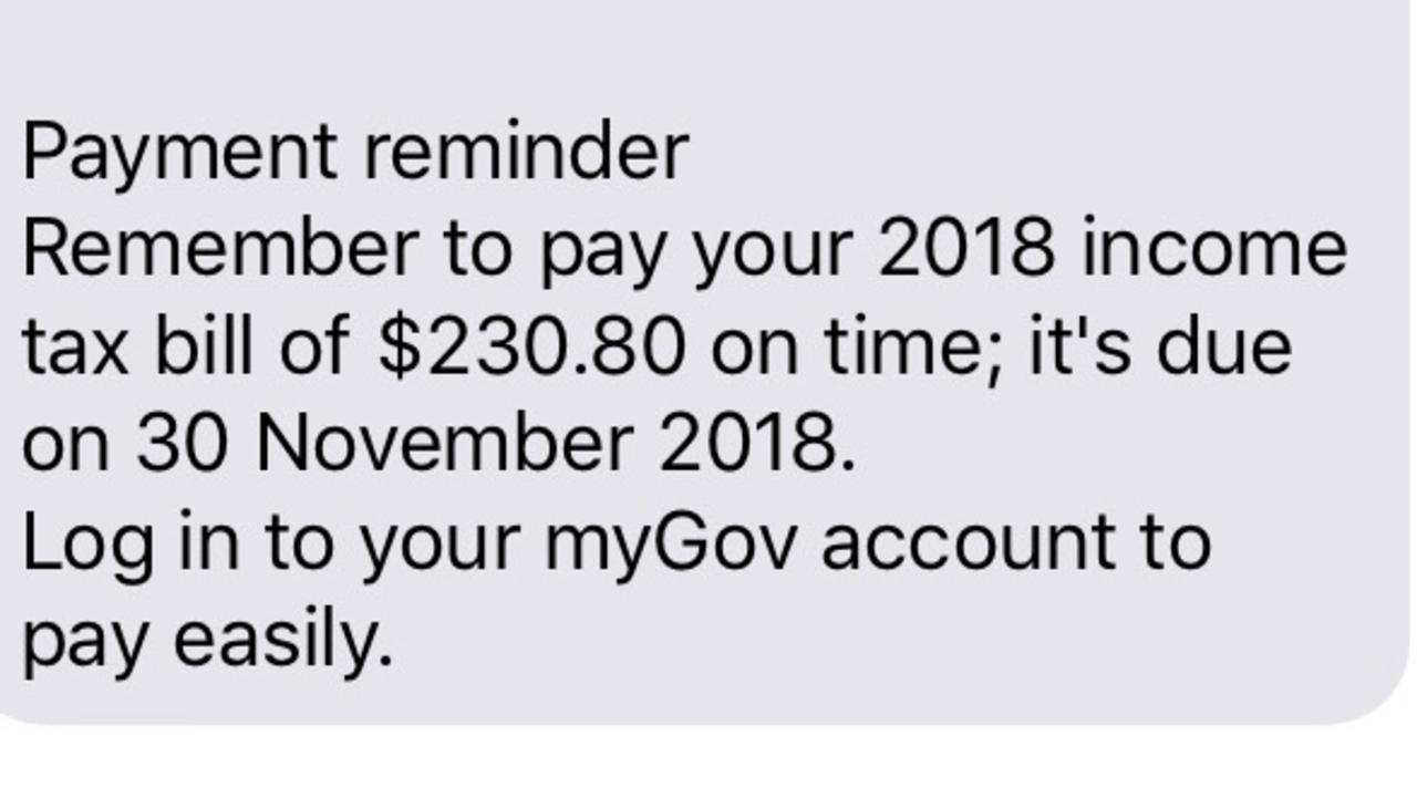 This is the legitimate ATO text sent to our concerned reader.